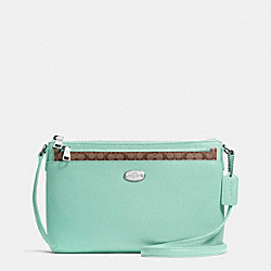 COACH F52881 East/west Pop Crossbody In Crossgrain Leather SILVER/SEAGLASS