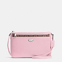 COACH F52881 East/west Pop Crossbody In Crossgrain Leather SILVER/PETAL