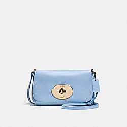COACH F52896 Liv Crossbody Pouch LIGHT GOLD/PALE BLUE
