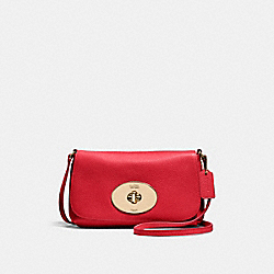 COACH F52896 Liv Crossbody Pouch LIGHT GOLD/RED