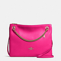CONVERTIBLE CROSSBODY IN PEBBLE LEATHER - f52901 -  LIGHT GOLD/PINK RUBY