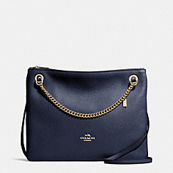 COACH CONVERTIBLE CROSSBODY IN PEBBLE LEATHER - LIGHT GOLD/NAVY - F52901