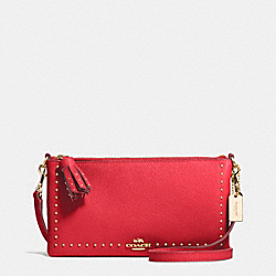 COACH F52906 - EDGE STUDS HERALD CROSBODY IN CROSSGRAIN LEATHER LIGHT GOLD/RED
