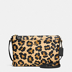 COACH F52912 - JOURNAL CROSSBODY IN OCELOT PRINT CROSSGRAIN LEATHER  LIGHT GOLD/TAN