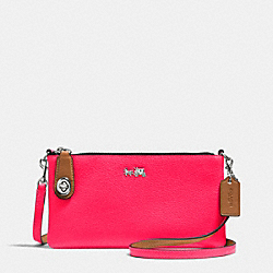 COACH F52914 - C.O.A.C.H. HERALD CROSSBODY IN POLISHED PEBBLE LEATHER SILVER/NEON PINK