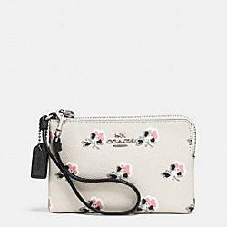 COACH F52926 Corner Zip Wristlet In Printed Crossgrain Leather SILVER/BRAMBLE ROSE