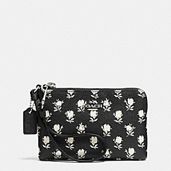 COACH F52926 Corner Zip Wristlet In Printed Crossgrain Leather SILVER/BLACK PARCHMENT BADLANDS FLORA