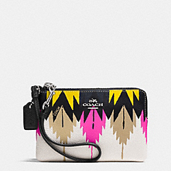 COACH F52926 Corner Zip Wristlet In Printed Crossgrain Leather SILVER/HAWK FEATHER