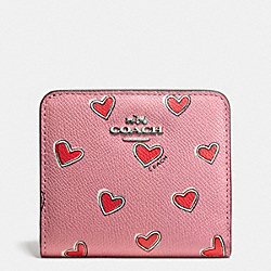 COACH F52930 Small Wallet In Heart Print Crossgrain Leather SILVER/PINK