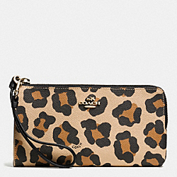 COACH F52938 Zippy Wallet In Ocelot Print Crossgrain Leather  LIGHT GOLD/TAN