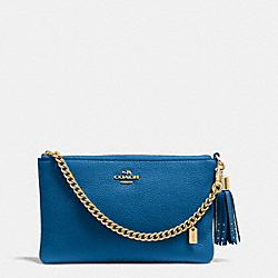 COACH F52943 Prairie Zip Wristlet In Pebble Leather LIGHTGOLD/DENIM