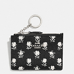 COACH F52954 Mini Skinny In Printed Crossgrain Leather SILVER/BK PCHMNT BDLND FLR