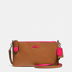 COACH F52968 - C.O.A.C.H. HERALD CROSSBODY IN CALF LEATHER NE/SADDLE NEON PINK