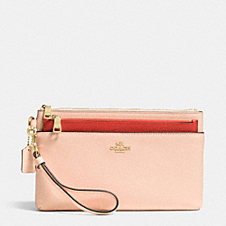 COACH F52985 Large Wristlet With Pop-up Pouch In Colorblock Crossgrain Leather LIDTI