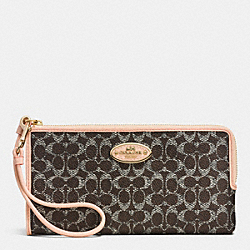 COACH F52997 Zippy Wallet In Embossed Signature LIGHT GOLD/SADDLE/APRICOT