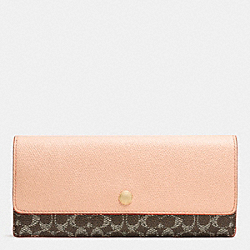 SOFT WALLET IN EMBOSSED SIGNATURE - f52999 - LIGHT GOLD/SADDLE/APRICOT