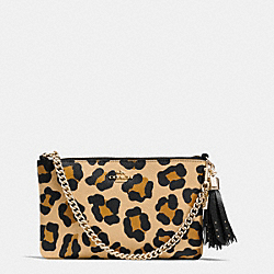 COACH F53005 Prairie Zip Wristlet In Ocelot Print Crossgrain Leather LIGHT GOLD/TAN