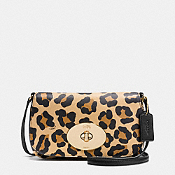 COACH F53007 Liv Crossbody In Ocelot Print Crossgrain Leather LIGHT GOLD/TAN