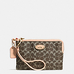 COACH F53009 Corner Zip Wristlet In Embossed Signature LIGHT GOLD/SADDLE/APRICOT