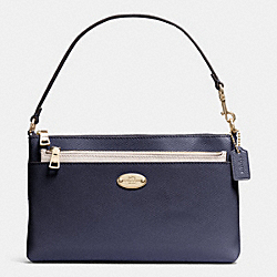 COACH F53014 Pop Pouch In Bi-color Crossgrain Leather  LIGHT GOLD/MIDNIGHT/CHALK