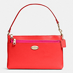 COACH F53014 Pop Pouch In Bi-color Crossgrain Leather  LIGHT GOLD/CARDINAL/PINK RUBY