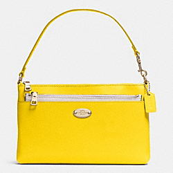 COACH F53014 Pop Pouch In Bi-color Crossgrain Leather  LIGHT GOLD/YELLOW/CHALK