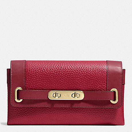 Coach F53028 Swagger Wallet In Pebble Leather Light Gold Black Cherry
