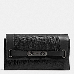 COACH F53028 Coach Swagger Wallet In Pebble Leather MATTE BLACK/BLACK