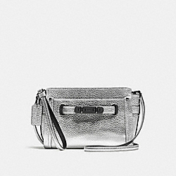 COACH F53032 Coach Swagger Wristlet In Pebble Leather DARK GUNMETAL/SILVER