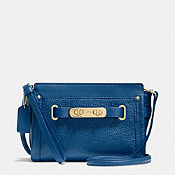 COACH F53032 Coach Swagger Wristlet In Pebble Leather LIGHT GOLD/DENIM