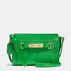 COACH F53032 Coach Swagger Wristlet In Pebble Leather LIGHTGOLD/GREEN