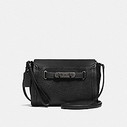 COACH F53032 Coach Swagger Wristlet In Pebble Leather MATTE BLACK/BLACK
