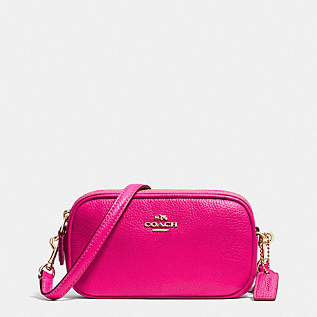 COACH f53034 CROSSBODY POUCH IN PEBBLE LEATHER LIGHT GOLD/PINK RUBY