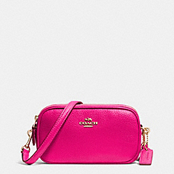 COACH F53034 - CROSSBODY POUCH IN PEBBLE LEATHER LIGHT GOLD/PINK RUBY