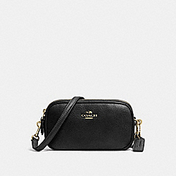 COACH F53034 - CROSSBODY POUCH IN PEBBLE LEATHER LIGHT GOLD/BLACK