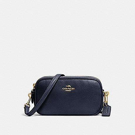 COACH f53034 CROSSBODY POUCH IN PEBBLE LEATHER LIGHT GOLD/NAVY
