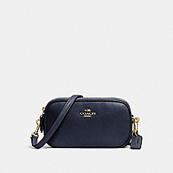CROSSBODY POUCH IN PEBBLE LEATHER - f53034 - LIGHT GOLD/NAVY
