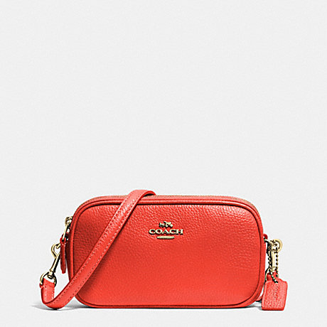 COACH f53034 CROSSBODY POUCH IN PEBBLE LEATHER LIGHT GOLD/WATERMELON