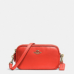 COACH F53034 - CROSSBODY POUCH IN PEBBLE LEATHER LIGHT GOLD/WATERMELON