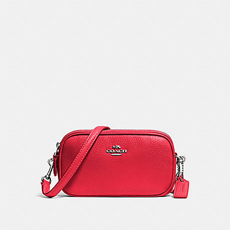 COACH f53034 CROSSBODY POUCH IN PEBBLE LEATHER SILVER/TRUE RED