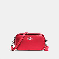 CROSSBODY POUCH IN PEBBLE LEATHER - f53034 - SILVER/TRUE RED