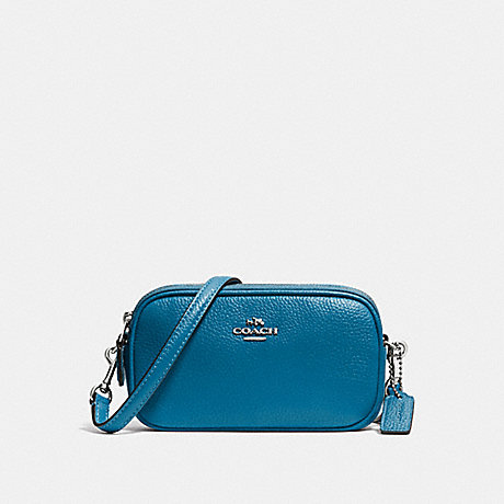 COACH f53034 CROSSBODY POUCH IN PEBBLE LEATHER SILVER/PEACOCK