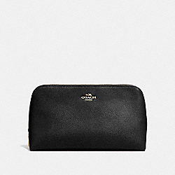COACH F53066 Cosmetic Case 22 In Crossgrain Leather LIGHT GOLD/BLACK