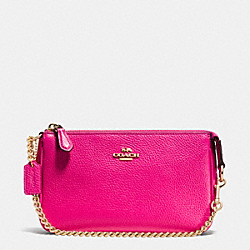 COACH F53077 Nolita Wristlet 19 In Pebble Leather LIGHT GOLD/PINK RUBY