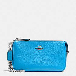 COACH F53077 Nolita Wristlet 19 In Pebble Leather SILVER/AZURE