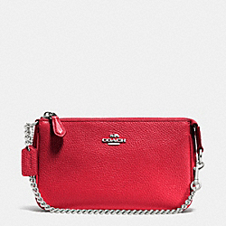 COACH F53077 Nolita Wristlet 19 In Pebble Leather SILVER/TRUE RED