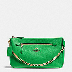 COACH F53078 Nolita Wristlet 24 In Pebble Leather LIGHT GOLD/GREEN