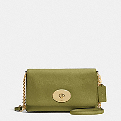 COACH F53083 Crosstown Crossbody In Pebble Leather LIGHT GOLD/MOSS