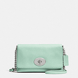 COACH F53083 Crosstown Crossbody In Pebble Leather SILVER/SEAGLASS