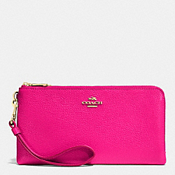 COACH F53089 Double Zip Wallet In Pebble Leather LIGHT GOLD/PINK RUBY